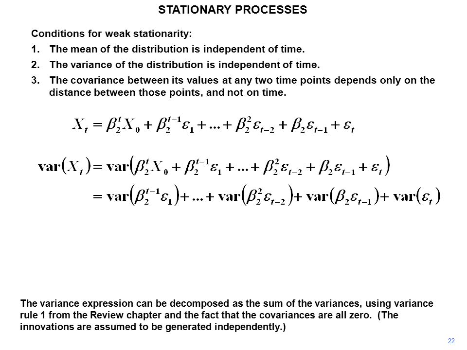 22 STATIONARY PROCESSES The variance expression can be decomposed as the sum of the variances, using variance rule 1 from the Review chapter and the fact that the covariances are all zero.