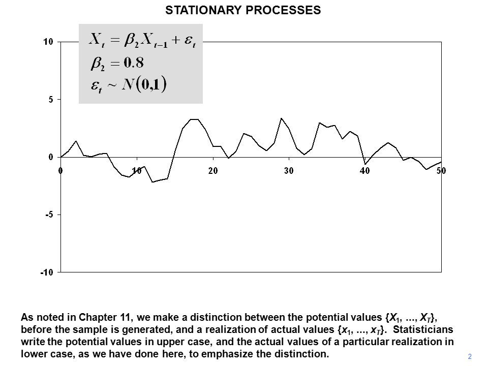 2 STATIONARY PROCESSES As noted in Chapter 11, we make a distinction between the potential values {X 1,..., X T }, before the sample is generated, and a realization of actual values {x 1,..., x T }.