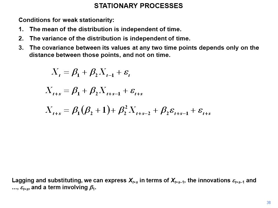38 STATIONARY PROCESSES Conditions for weak stationarity: 1.The mean of the distribution is independent of time.