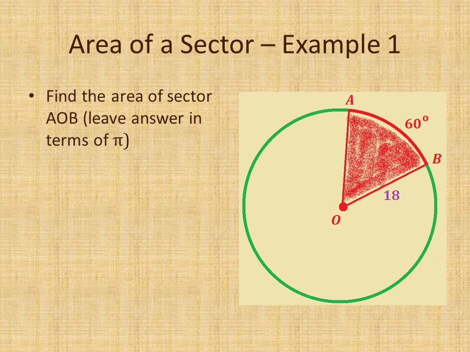Area of a Sector – Example 1 Find the area of sector AOB (leave answer in terms of π)