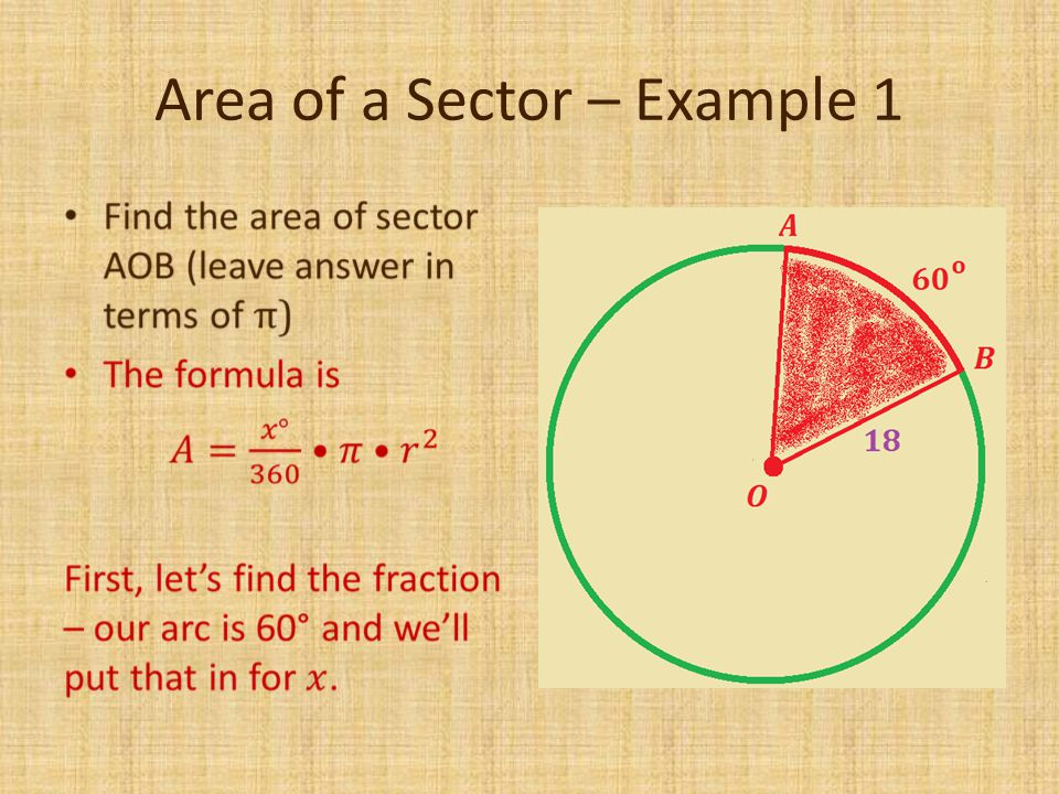 Area of a Sector – Example 1