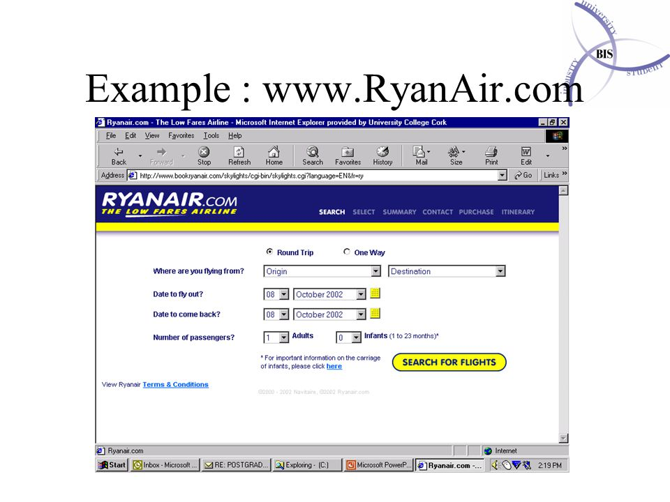 MBS (MIMAS) / MIS533 / Database development Example : www.RyanAir.com