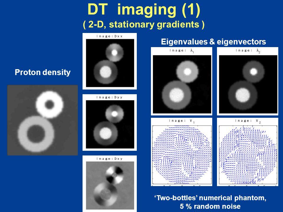 DT imaging (1) ( 2-D, stationary gradients ) Proton density 'Two-bottles' numerical phantom, 5 % random noise Eigenvalues & eigenvectors