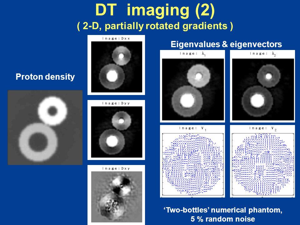 DT imaging (2) ( 2-D, partially rotated gradients ) Proton density 'Two-bottles' numerical phantom, 5 % random noise Eigenvalues & eigenvectors