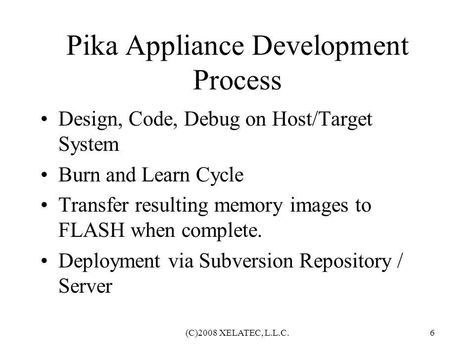 (C)2008 XELATEC, L.L.C.7 Pika Appliance Development Pluses Well Written Manuals.