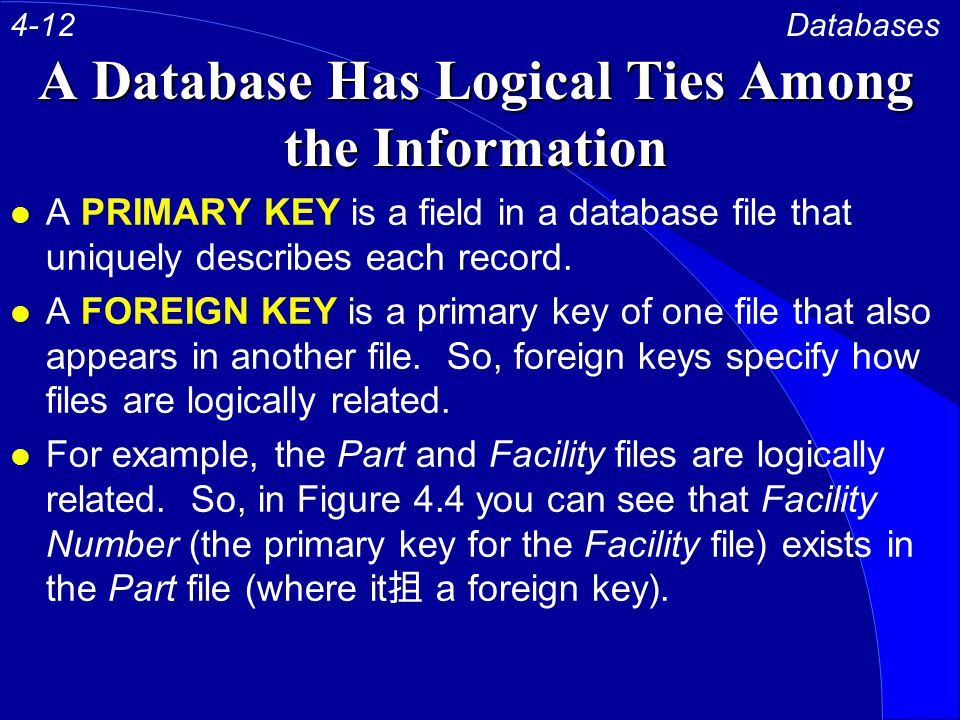 A Database Has Logical Ties Among the Information l A PRIMARY KEY is a field in a database file that uniquely describes each record.