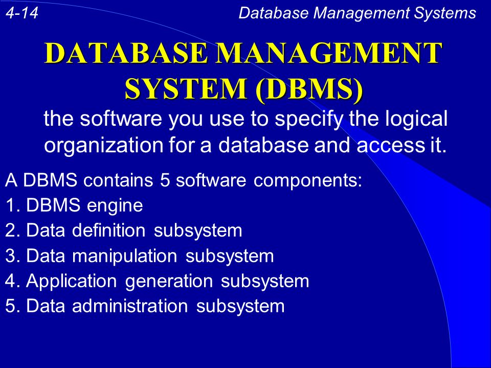 DATABASE MANAGEMENT SYSTEM (DBMS) A DBMS contains 5 software components: 1.