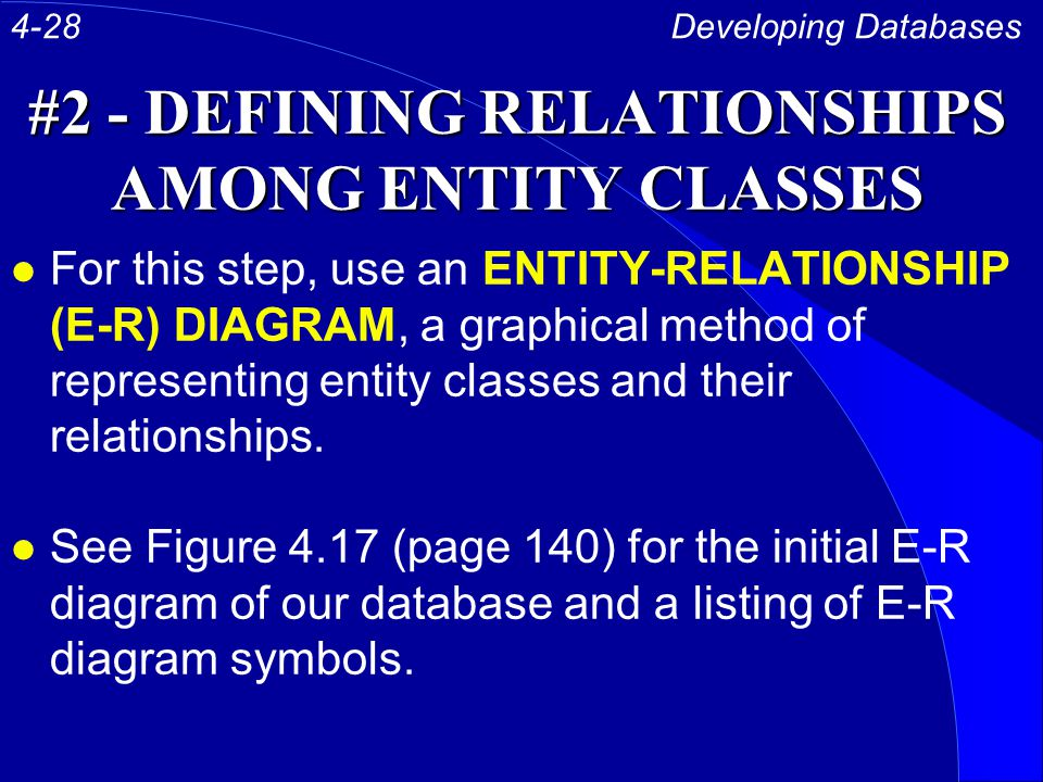 #2 - DEFINING RELATIONSHIPS AMONG ENTITY CLASSES l For this step, use an ENTITY-RELATIONSHIP (E-R) DIAGRAM, a graphical method of representing entity classes and their relationships.