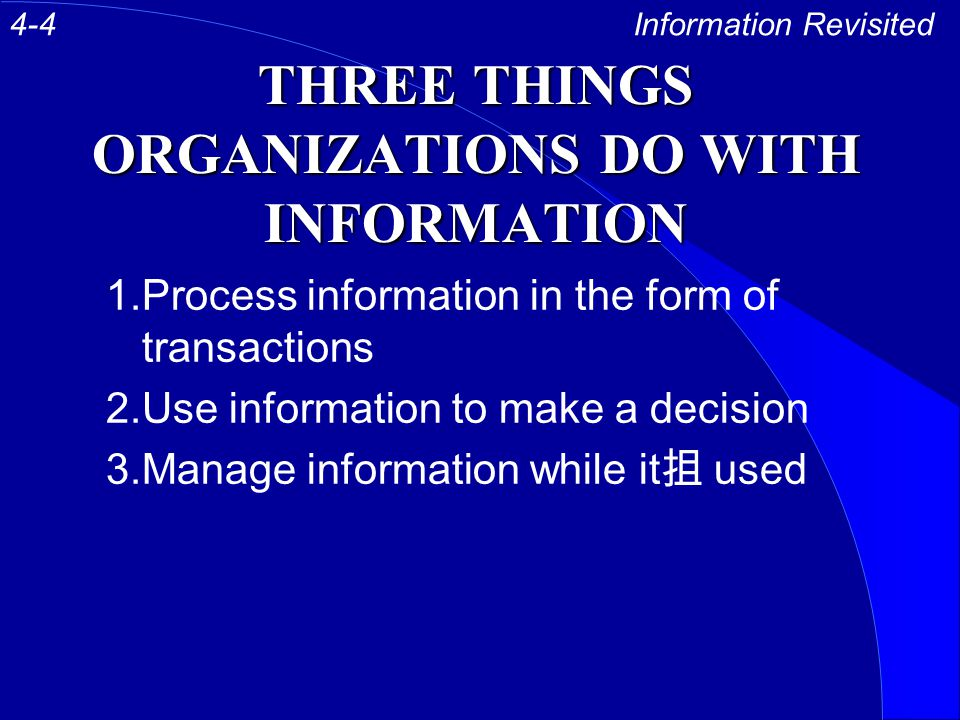 THREE THINGS ORGANIZATIONS DO WITH INFORMATION 1.Process information in the form of transactions 2.Use information to make a decision 3.Manage information while it 抯 used Information Revisited4-4