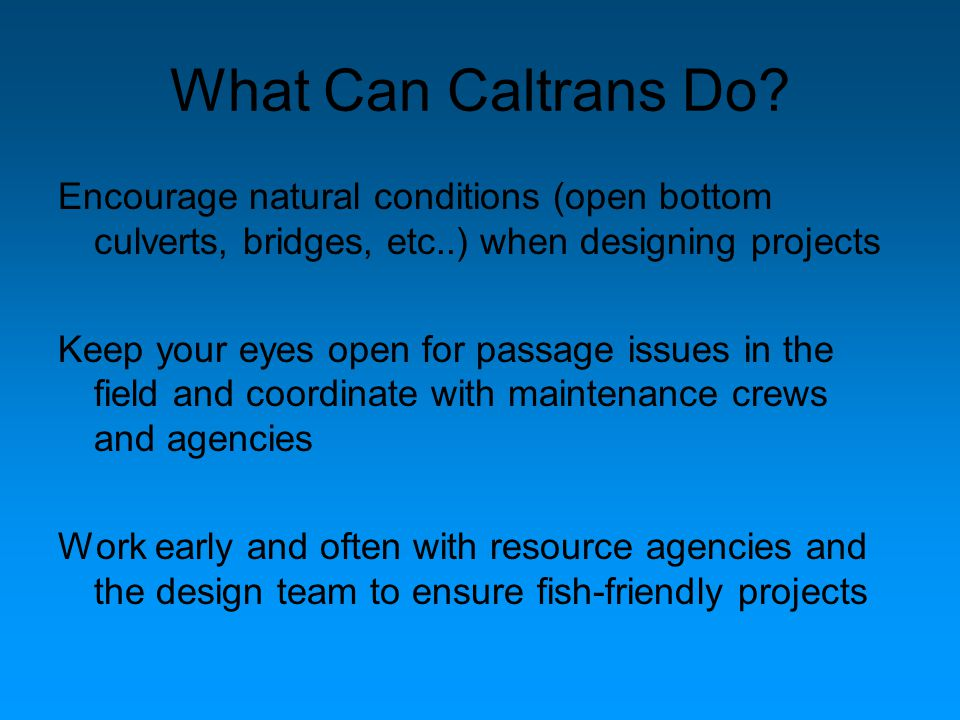 What Can Caltrans Do? Encourage natural conditions (open bottom culverts, bridges, etc..) when designing projects Keep your eyes open for passage issu