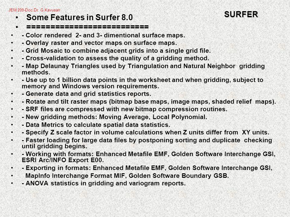 Surfer -Creating a Contour Map JEM 209-Doc.Dr. G.Kavusan
