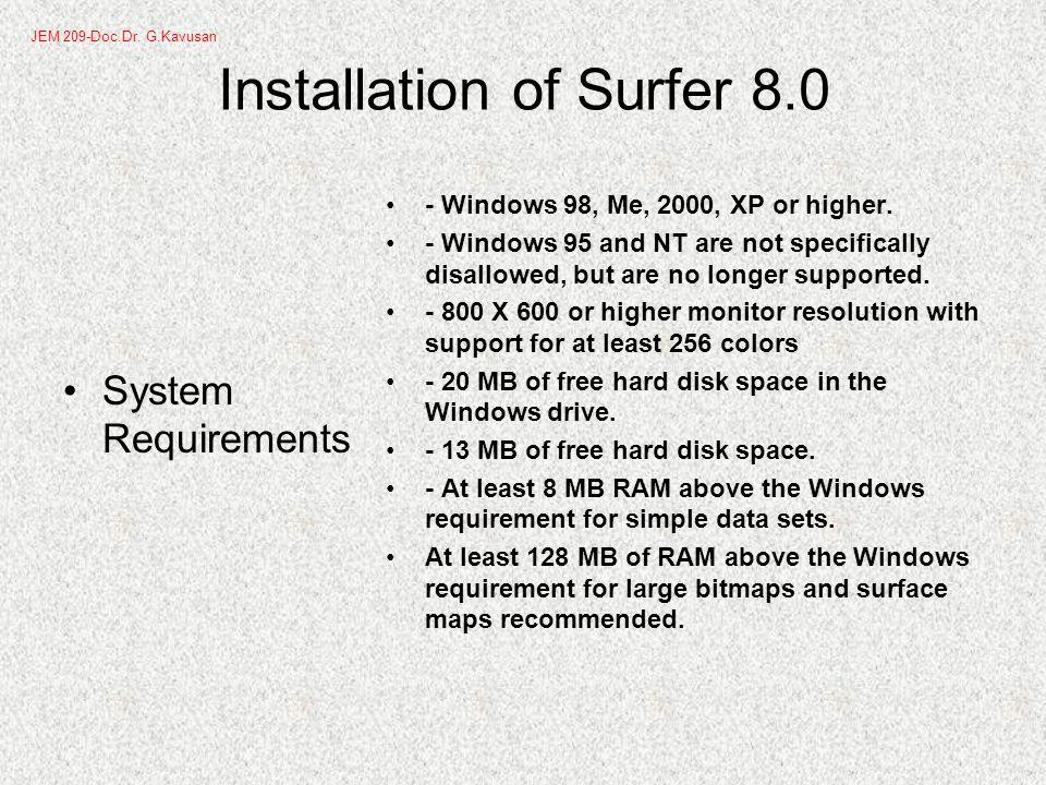 Surfer –creating XYZ files JEM 209-Doc.Dr. G.Kavusan