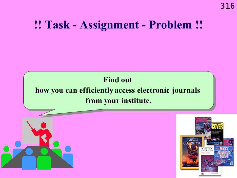 316 !. Task - Assignment - Problem !.