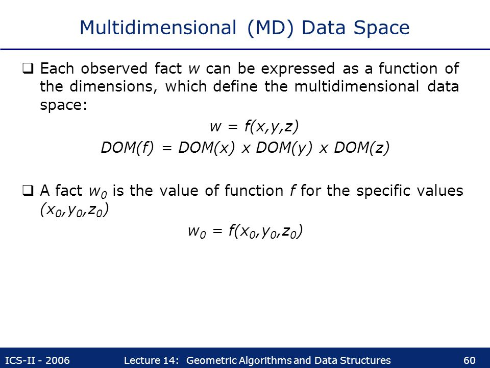 ICS-II - 2006Lecture 14: Geometric Algorithms and Data Structures60 Multidimensional (MD) Data Space  Each observed fact w can be expressed as a func