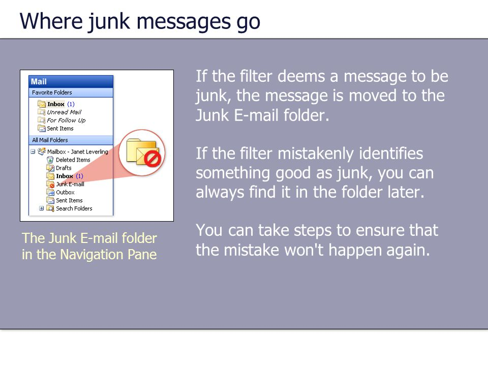 Where junk messages go If the filter deems a message to be junk, the message is moved to the Junk E-mail folder.