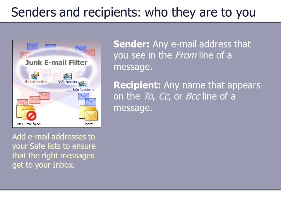 Senders and recipients: who they are to you Sender: Any  address that you see in the From line of a message.