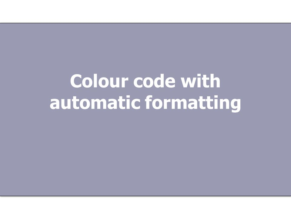 Colour code with automatic formatting