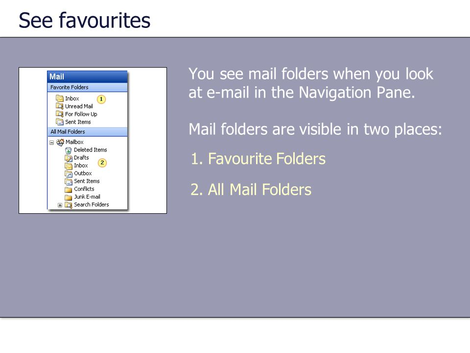 See favourites You see mail folders when you look at  in the Navigation Pane.