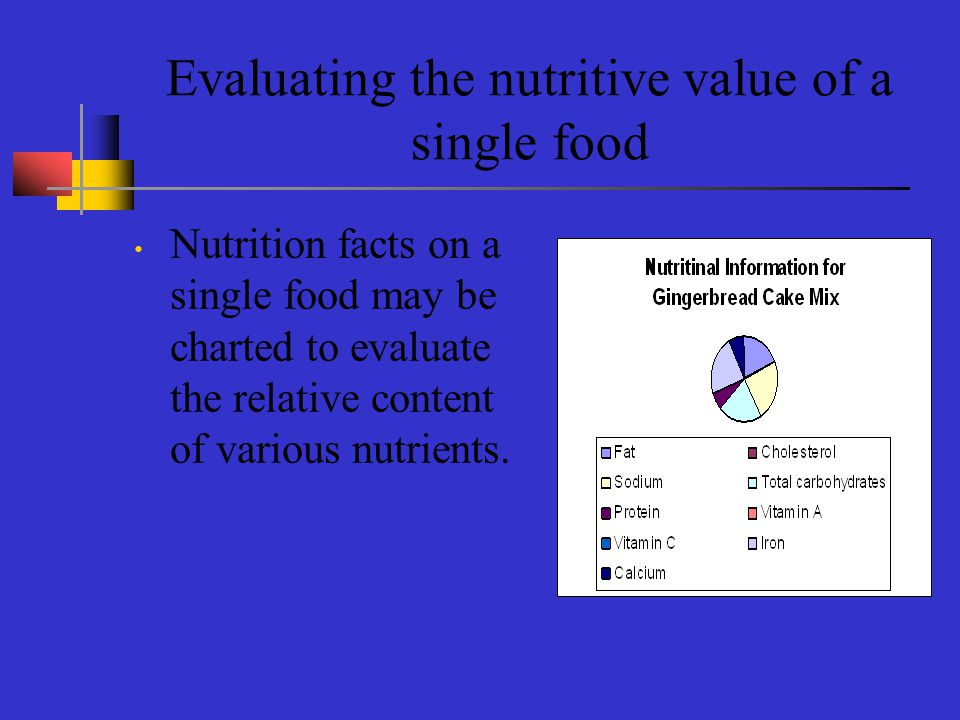 Evaluating the nutritive value of a single food Nutrition facts on a single food may be charted to evaluate the relative content of various nutrients.