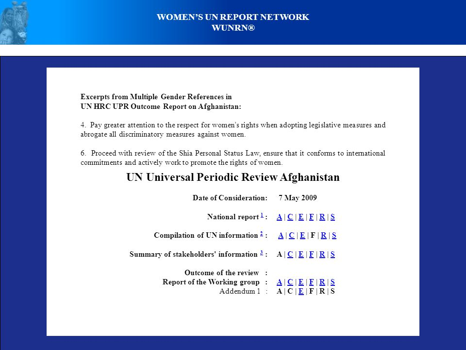 Excerpts from Multiple Gender References in UN HRC UPR Outcome Report on Afghanistan: 4.