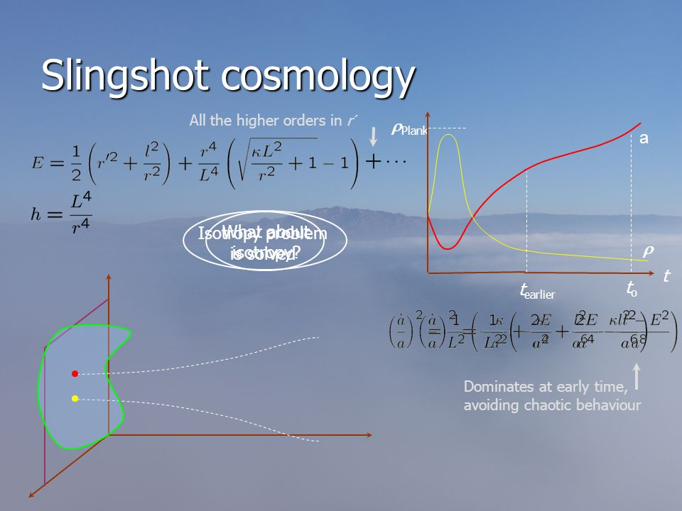 Slingshot cosmology  Plank  toto a t t earlier What about isotropy.