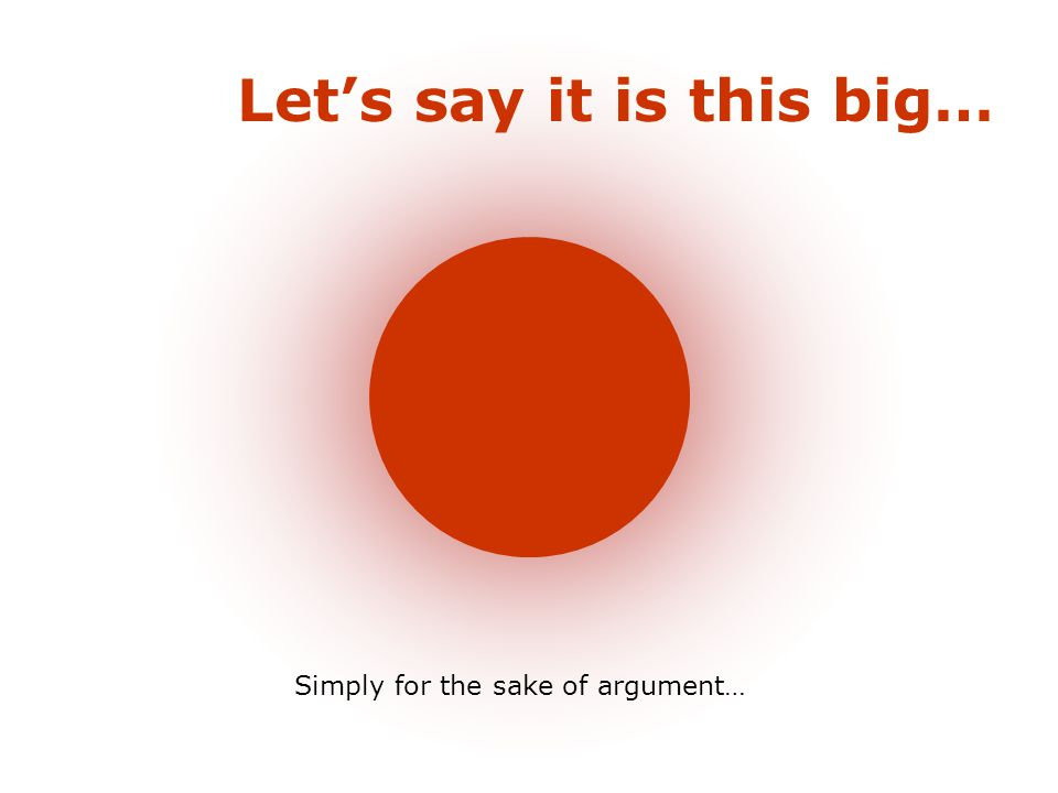 Let's say it is this big… Simply for the sake of argument…