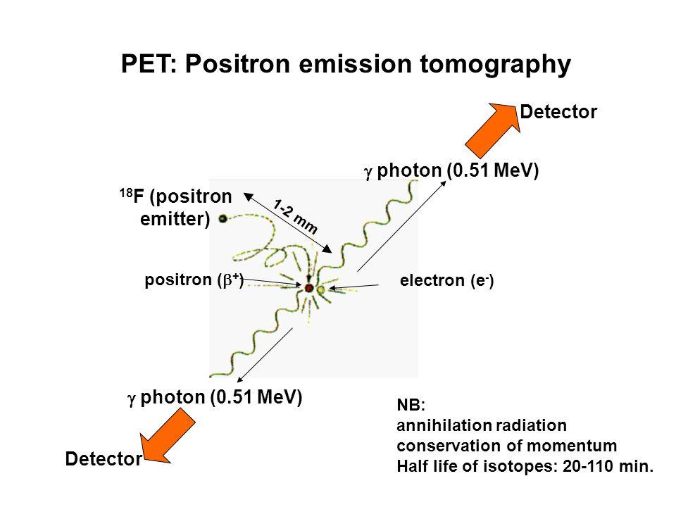 PET: Positron emission tomography  photon (0.51 MeV) electron (e - ) positron (  + ) 18 F (positron emitter) Detector NB: annihilation radiation conservation of momentum Half life of isotopes: 20-110 min.