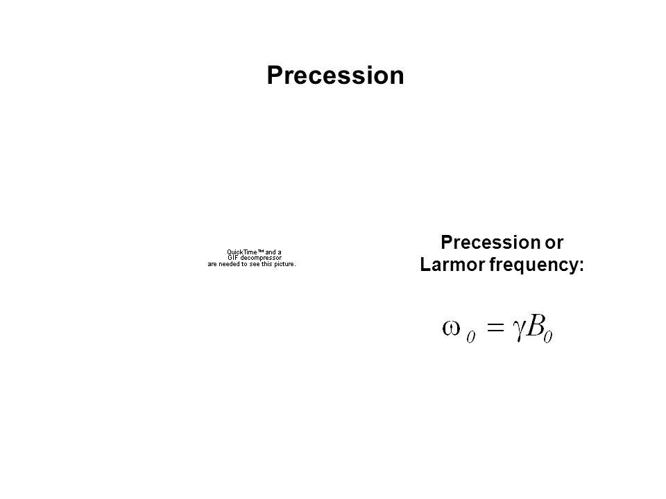 Precession Precession or Larmor frequency: