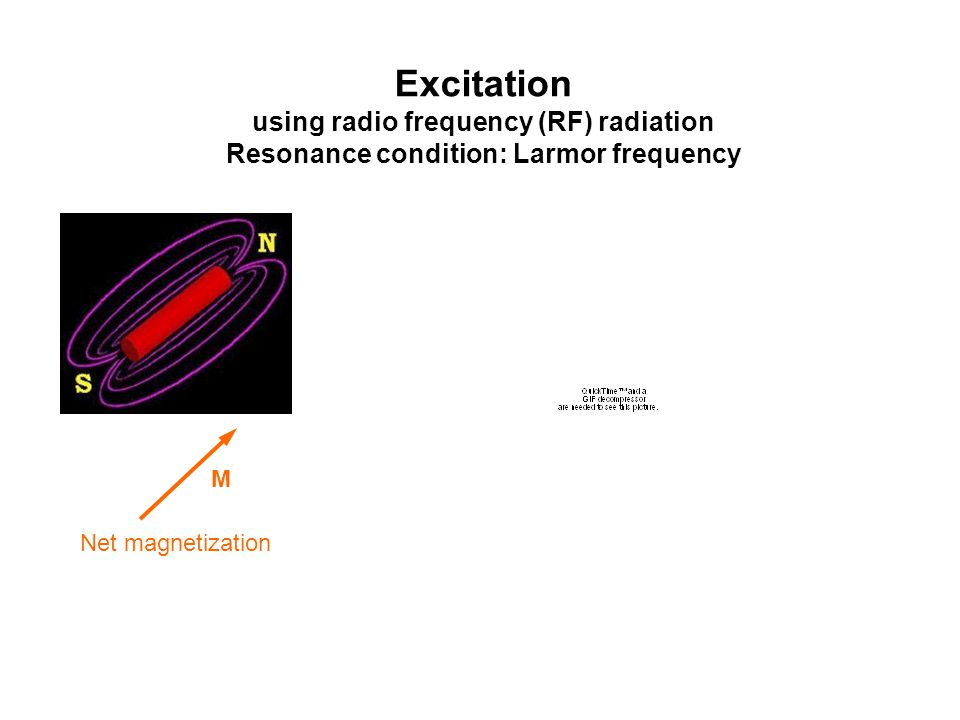 Excitation using radio frequency (RF) radiation Resonance condition: Larmor frequency M Net magnetization