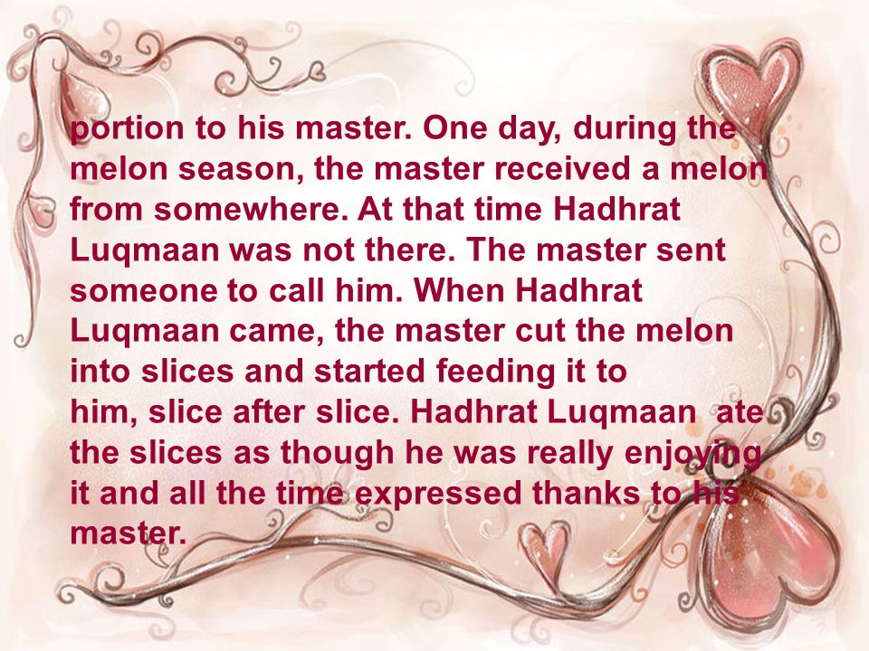 portion to his master.