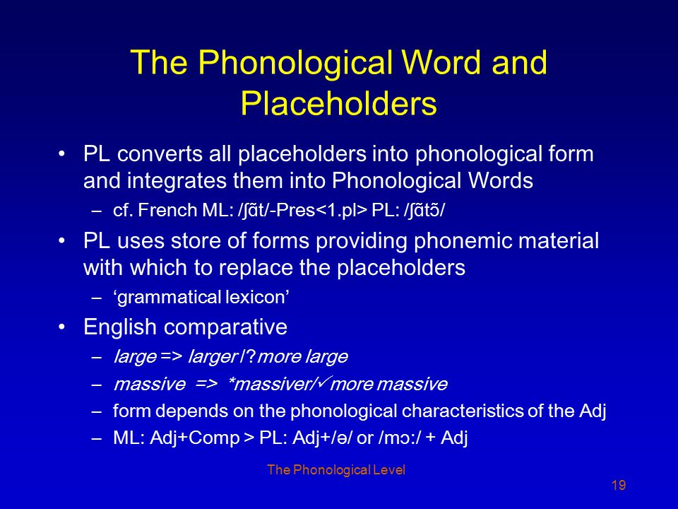 The Phonological Level 19 The Phonological Word and Placeholders PL converts all placeholders into phonological form and integrates them into Phonolog