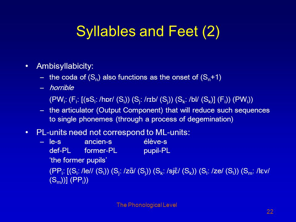 22 Syllables and Feet (2) Ambisyllabicity: –the coda of (S n ) also functions as the onset of (S n +1) –horrible (PW i : (F i : [(sS i : /hɒr/ (S i ))