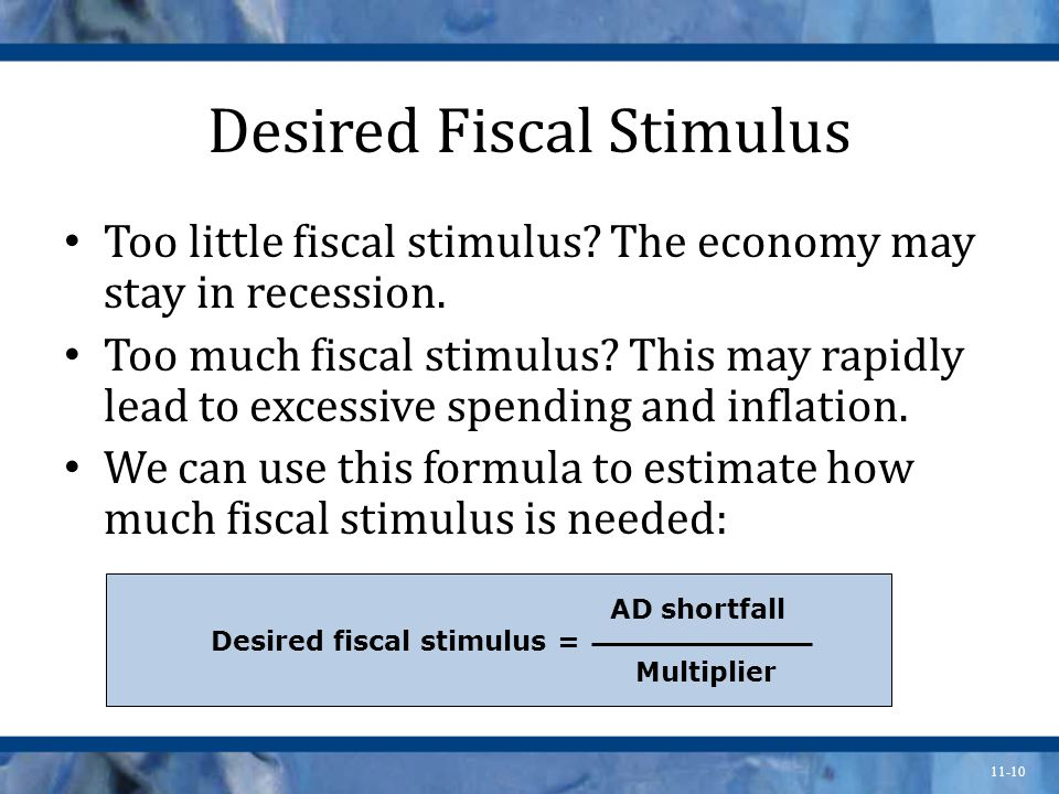 11-10 Desired Fiscal Stimulus Too little fiscal stimulus.
