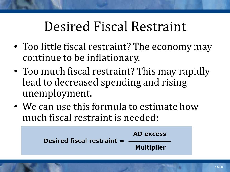 11-18 Desired Fiscal Restraint Too little fiscal restraint.