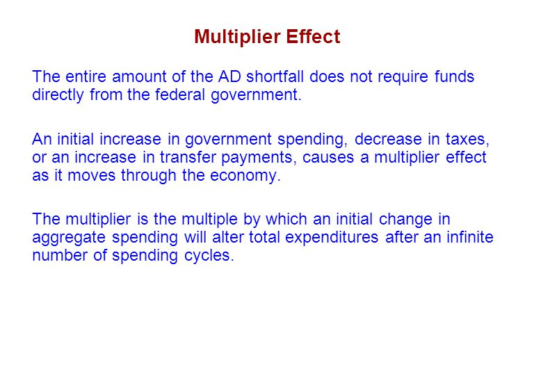 Multiplier Effect The entire amount of the AD shortfall does not require funds directly from the federal government.