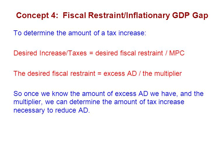 Concept 4: Fiscal Restraint/Inflationary GDP Gap To determine the amount of a tax increase: Desired Increase/Taxes = desired fiscal restraint / MPC The desired fiscal restraint = excess AD / the multiplier So once we know the amount of excess AD we have, and the multiplier, we can determine the amount of tax increase necessary to reduce AD.