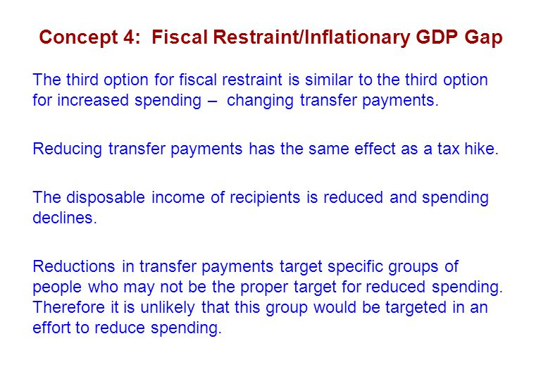 Concept 4: Fiscal Restraint/Inflationary GDP Gap The third option for fiscal restraint is similar to the third option for increased spending – changing transfer payments.