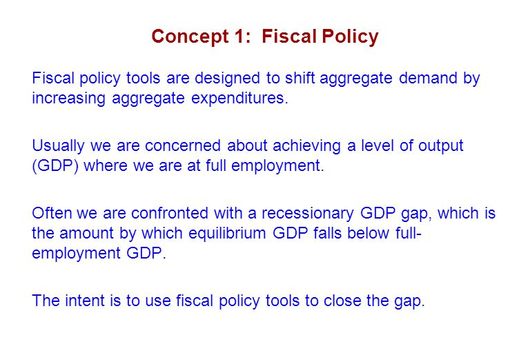 Concept 4: Fiscal Restraint/Inflationary GDP Gap Once we have a dollar target for our fiscal restraint, then the federal budget can be reduced to accomplish our goal.