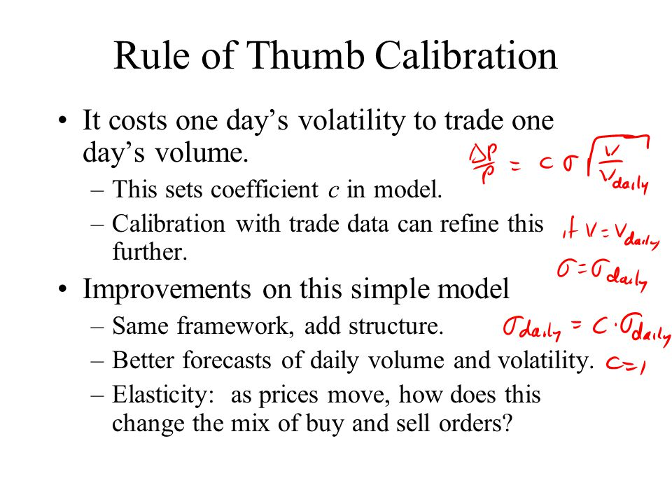 Rule of Thumb Calibration It costs one day's volatility to trade one day's volume.
