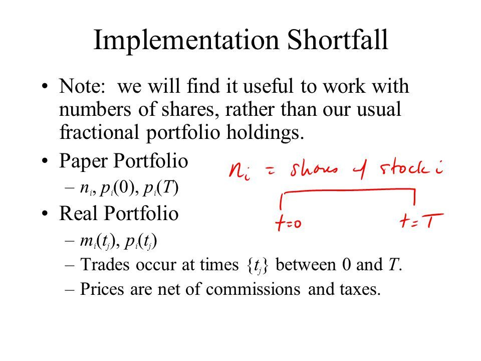 Implementation Shortfall Note: we will find it useful to work with numbers of shares, rather than our usual fractional portfolio holdings.