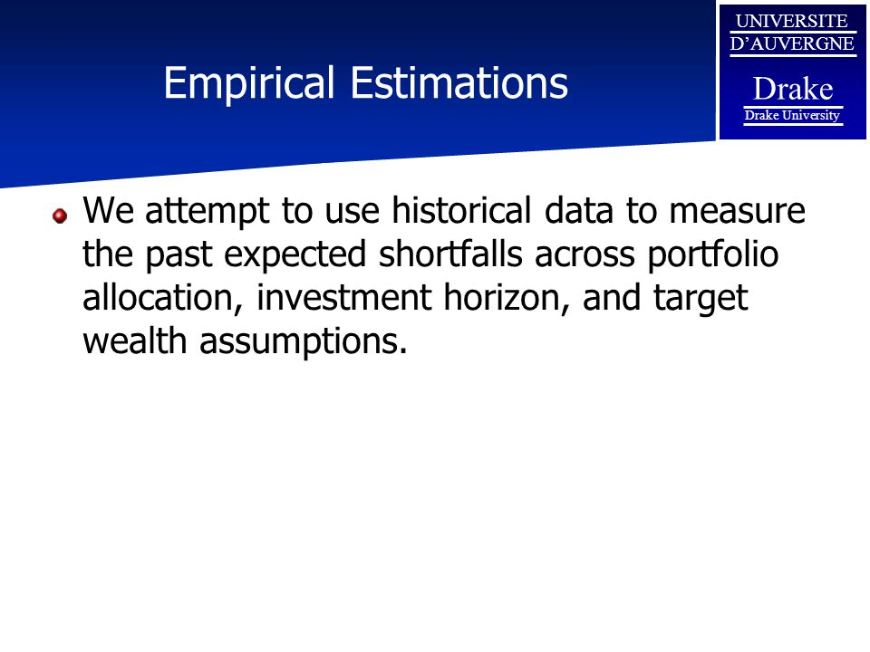 UNIVERSITE D'AUVERGNE Drake Drake University Empirical Estimations We attempt to use historical data to measure the past expected shortfalls across portfolio allocation, investment horizon, and target wealth assumptions.