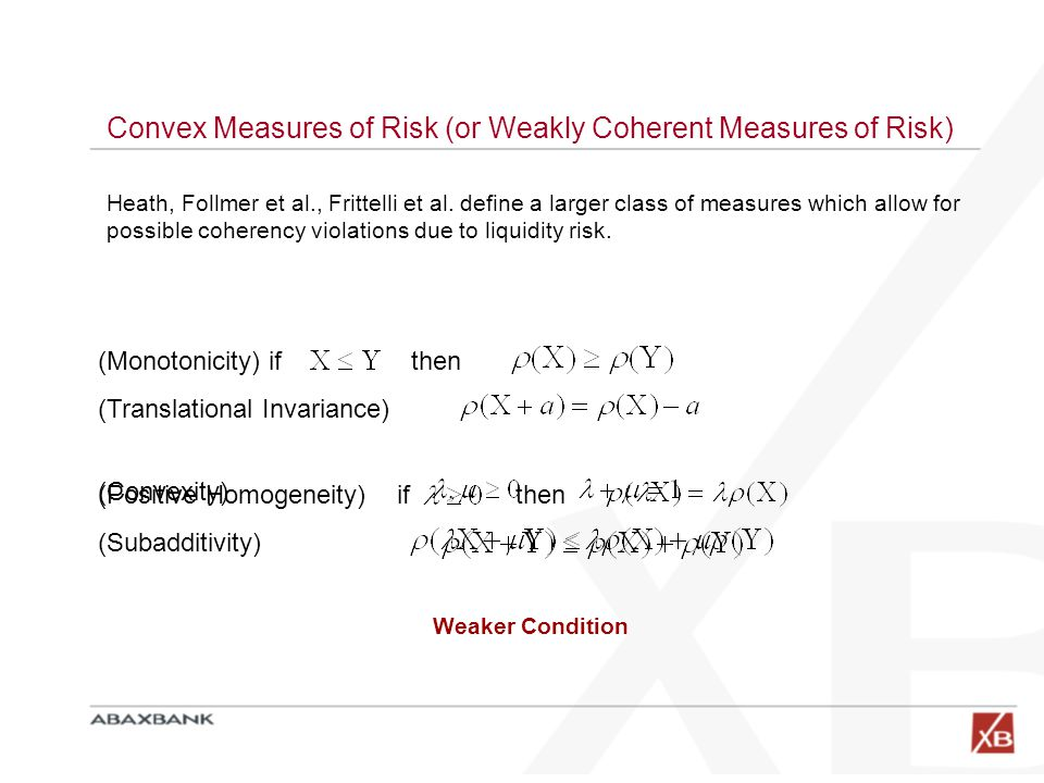 Convex Measures of Risk (or Weakly Coherent Measures of Risk) (Monotonicity) if then (Translational Invariance) Heath, Follmer et al., Frittelli et al.