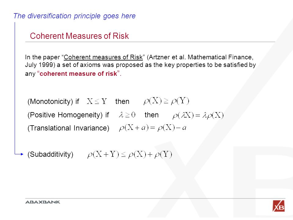 Coherent Measures of Risk (Monotonicity) if then (Positive Homogeneity) if then (Translational Invariance) (Subadditivity) In the paper Coherent measures of Risk (Artzner et al.
