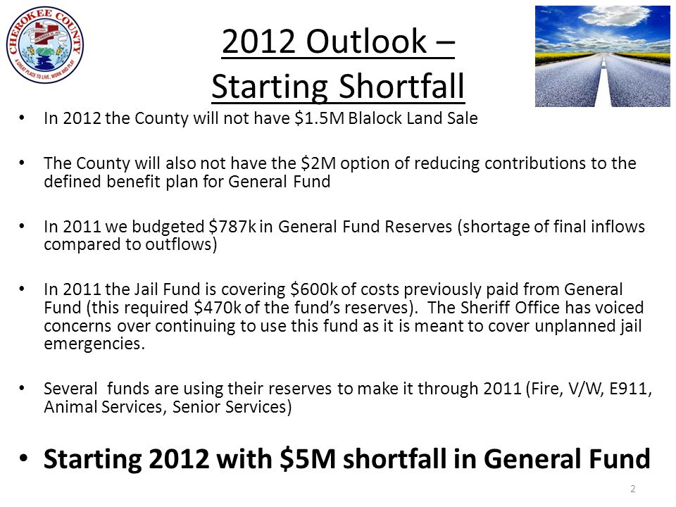 2012 Outlook – Starting Shortfall In 2012 the County will not have $1.5M Blalock Land Sale The County will also not have the $2M option of reducing contributions to the defined benefit plan for General Fund In 2011 we budgeted $787k in General Fund Reserves (shortage of final inflows compared to outflows) In 2011 the Jail Fund is covering $600k of costs previously paid from General Fund (this required $470k of the fund's reserves).