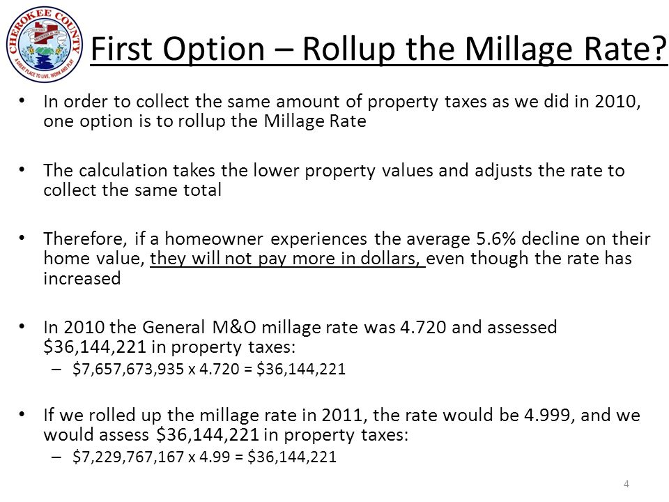 First Option – Rollup the Millage Rate? In order to collect the same amount of property taxes as we did in 2010, one option is to rollup the Millage R