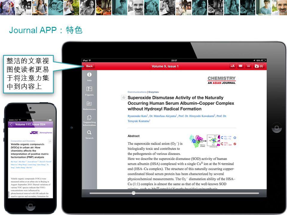 Journal APP :特色 整洁的文章视 图使读者更易 于将注意力集 中到内容上
