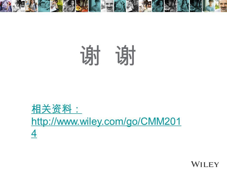 谢 相关资料: http://www.wiley.com/go/CMM201 4