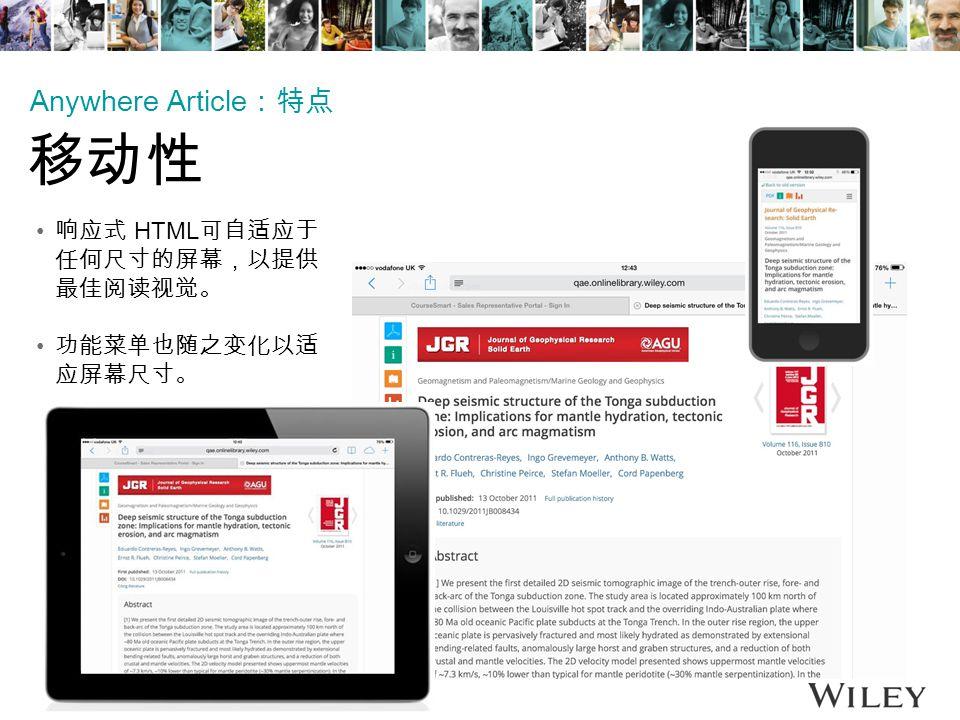 响应式 HTML 可自适应于 任何尺寸的屏幕,以提供 最佳阅读视觉。 功能菜单也随之变化以适 应屏幕尺寸。 Anywhere Article :特点 移动性