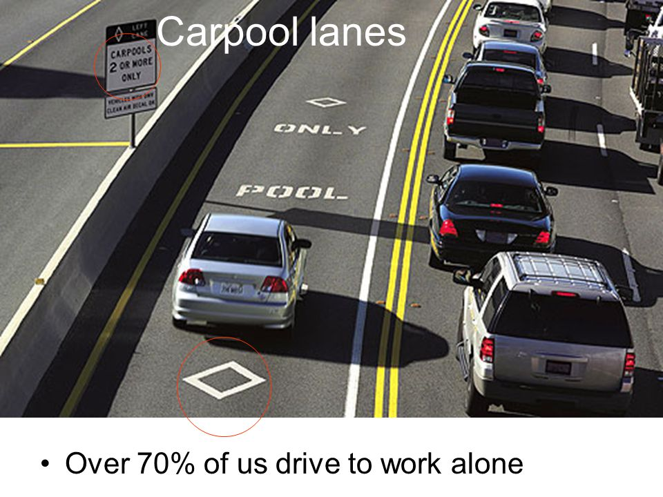 Carpool lanes Over 70% of us drive to work alone