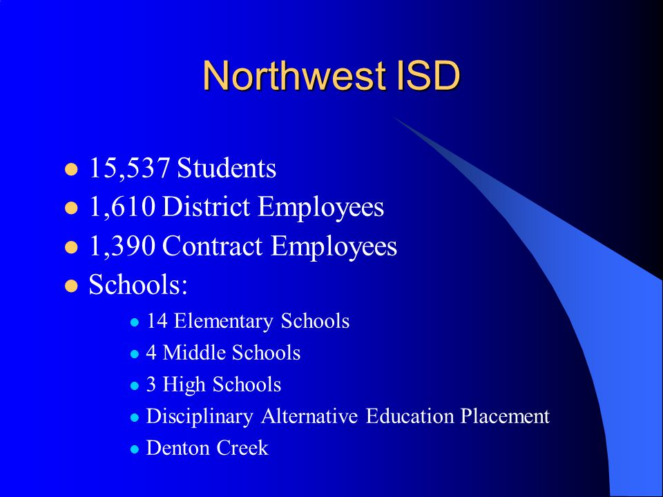 Northwest ISD 15,537 Students 1,610 District Employees 1,390 Contract Employees Schools: 14 Elementary Schools 4 Middle Schools 3 High Schools Disciplinary Alternative Education Placement Denton Creek